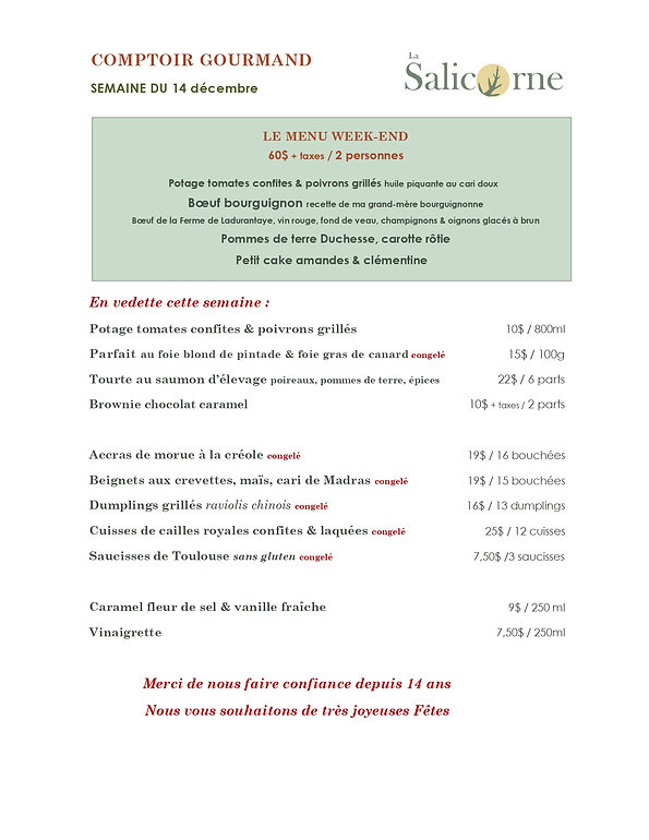 Comptoir gourmand La Salicorne_Menu_Sema