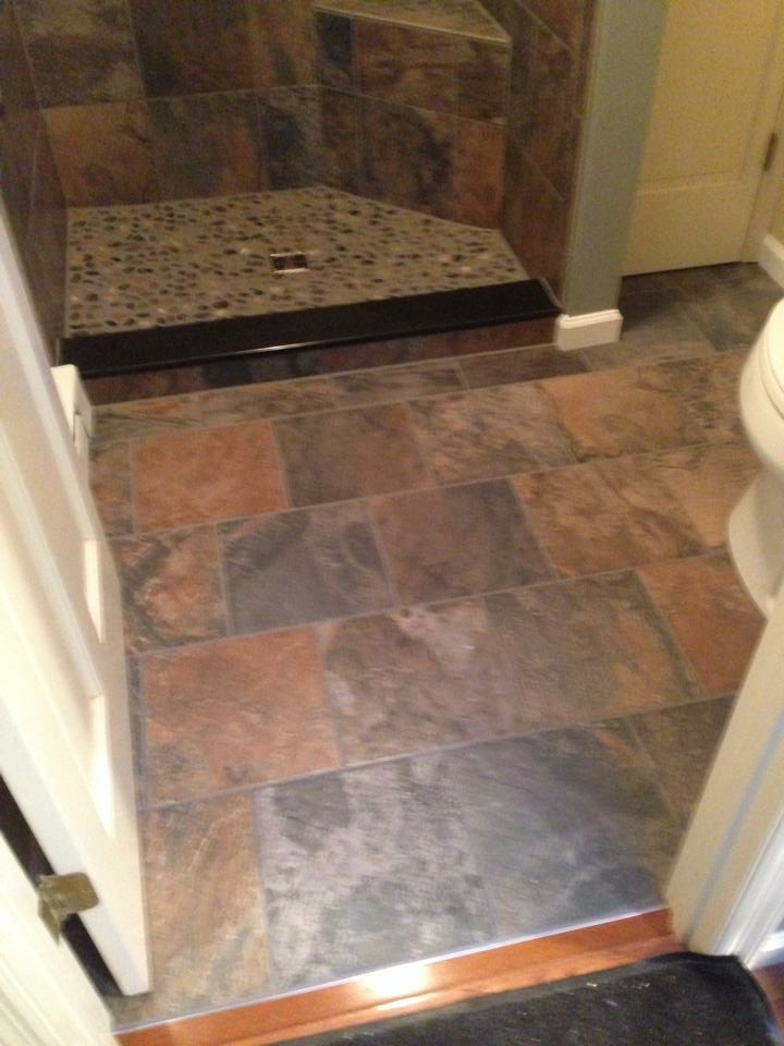 Faux Slate Ceramic Tile Floor