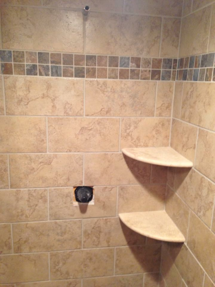Tile Shower with Shelves
