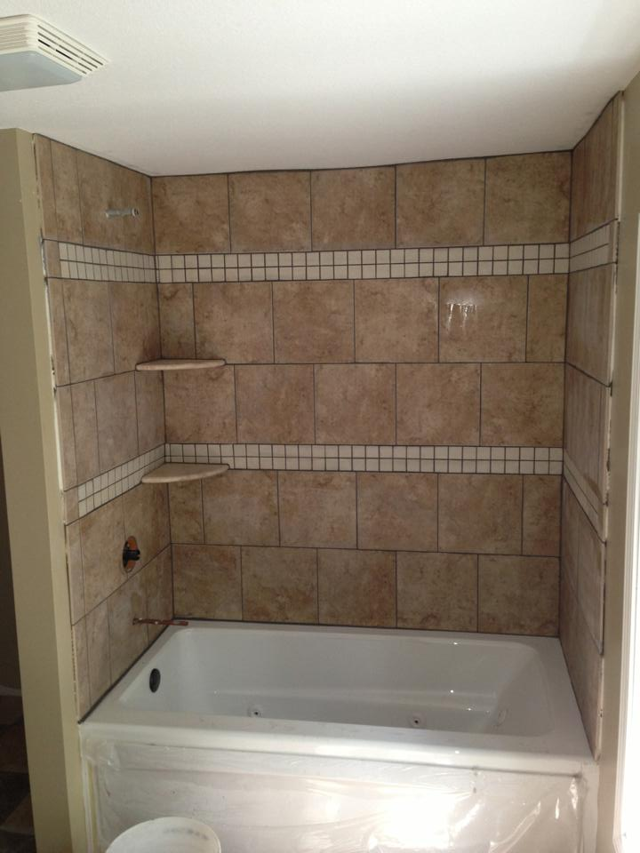 Fiberglass Tub with Tile Surround
