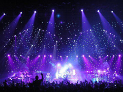 tiny lights blue stage background
