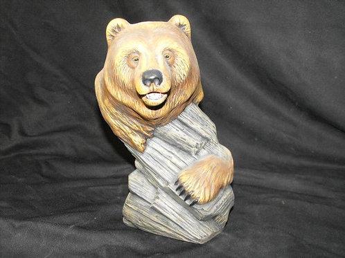 Bear on wood base
