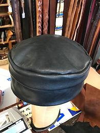 Black leather cap, handmade on Cape Cod