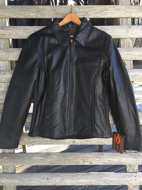 Womens Black Leather Jacket With Braid Detail