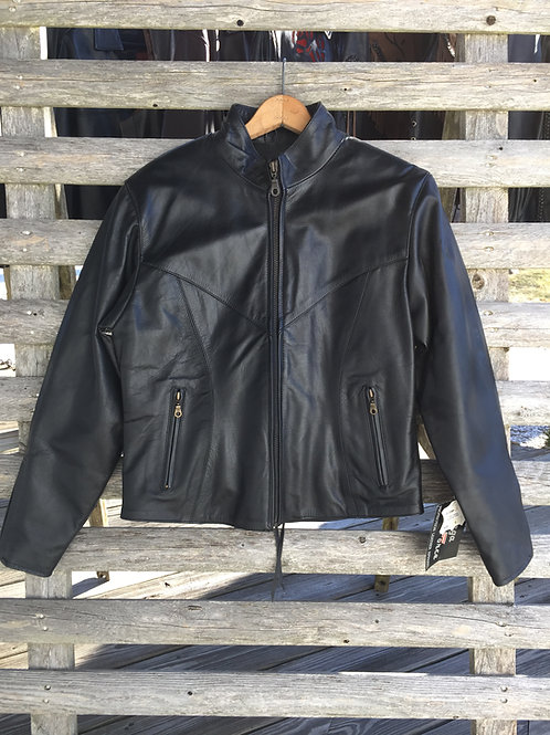 Womens Black Leather Jacket With Back Drawstring