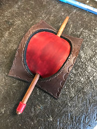 Red leather hair stick, handmade at Four Winds Leather Eastham Mass