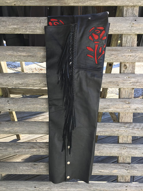 Womens Black Leather Chaps With Red Roses