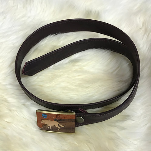 Leather Belt Wolf Buckle
