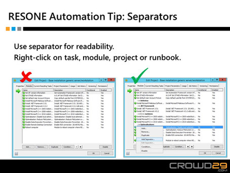 Automation tip: separators