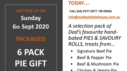 Pre Order Now... your Father's Day        6th Sept 2020 - 6 PACK of PIES GIFT BOX