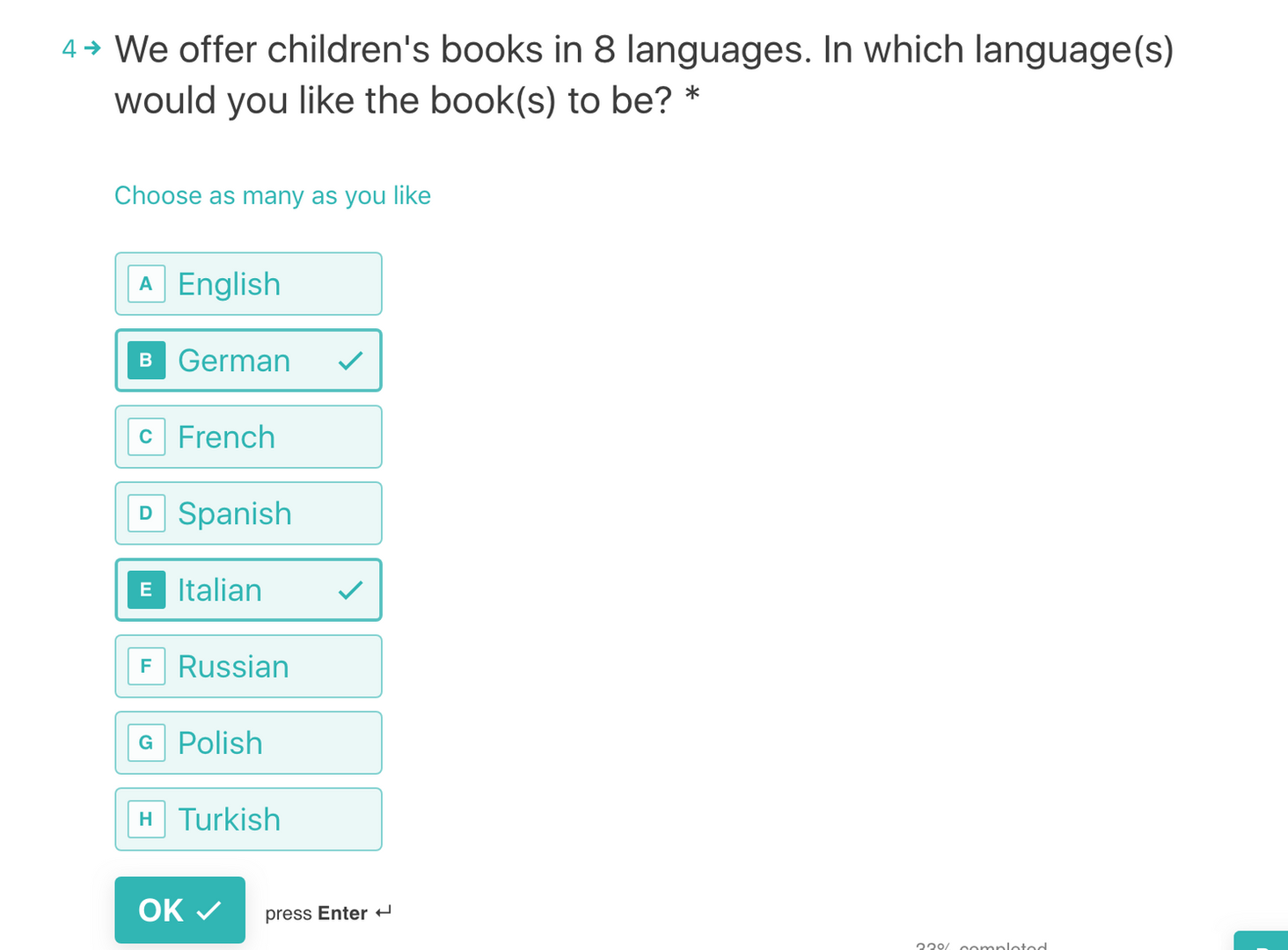 Choose your language preferences