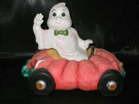 ghost driving pumpkin car