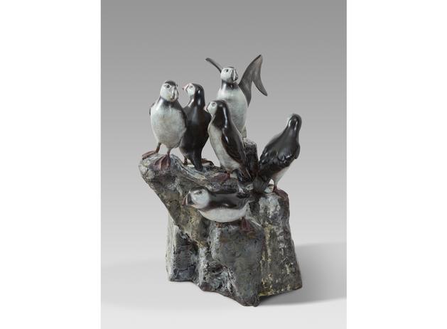 Macareux moine sur rocher, bronze H 60,