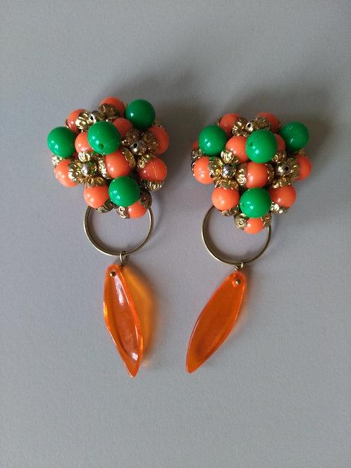 Clips années 60 orange et vert Ref 204