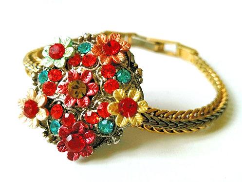 Bracelet bouquet de fleurs multicolore - ref 106