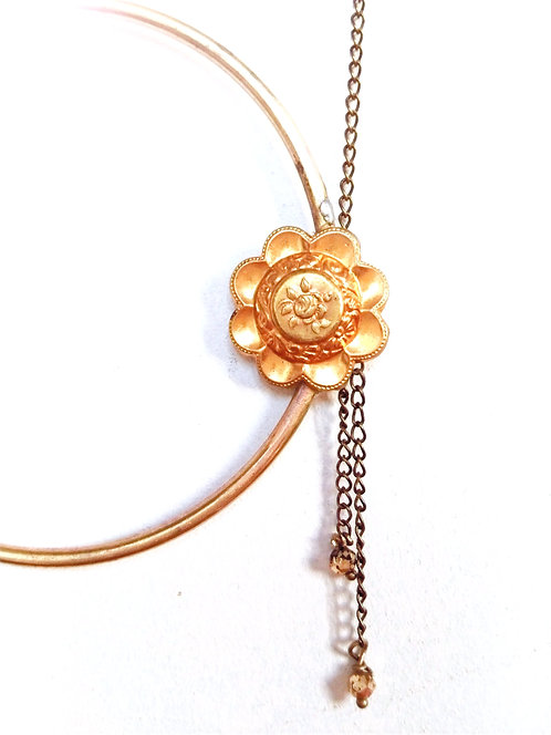 Sautoir anneau et bouton fleur laiton - Ref 03