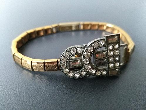 Bracelet doré et pièce ancienne strass - ref 207