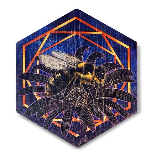 """UltraViolet Bee in Indigo"""" Hexagon Wood Art"""