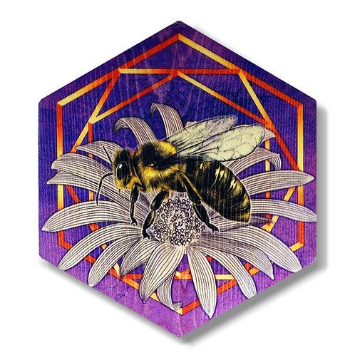"""""""UltraViolet Bee in Violet"""" Hexagon Wood Art"""