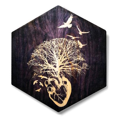 """HeART of Vitality"" Hexagon Wood Art"