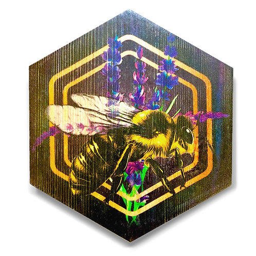 """Lavender Bee"" Large Hexagon Wood Art"