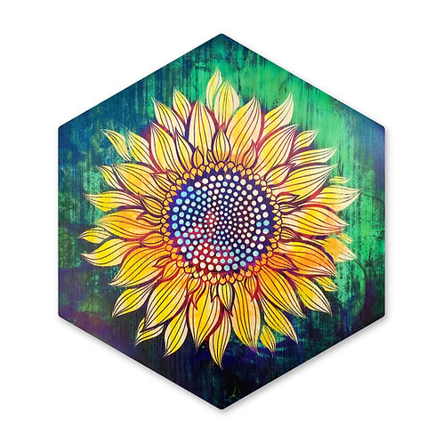 """Sunflower in Emerald""- Large Hexagon Wood Art"