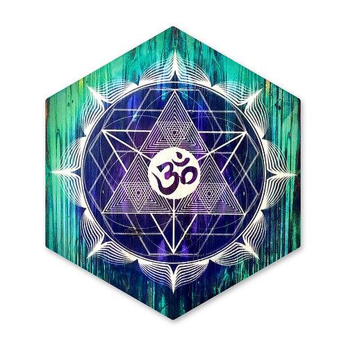 """OM Mandala""- Large Hexagon Wood Art"