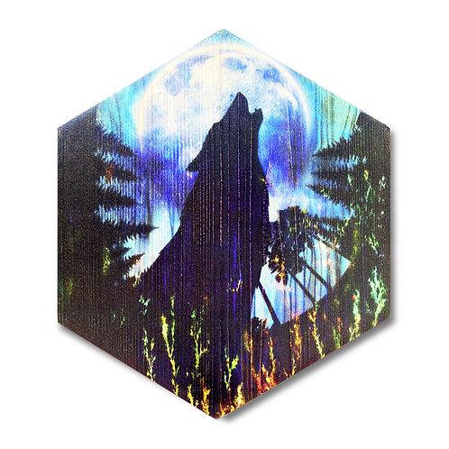 """""""Moonlight Wolf"""" Hexagon Wood Art"""