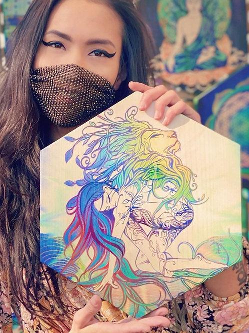 """Lion Goddess""- Large Hexagon Wood Art"