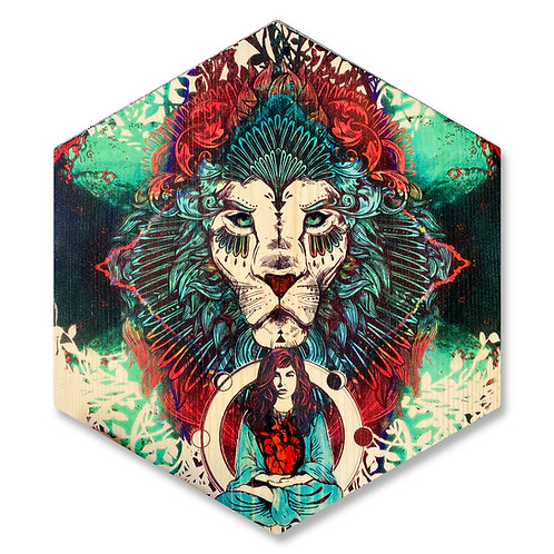 """Lion heART"" in Scarlet and Aqua - Large Hexagon Wood Art"