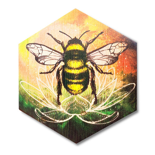 """Golden Lotus Bee"" Hexagon Wood Art"