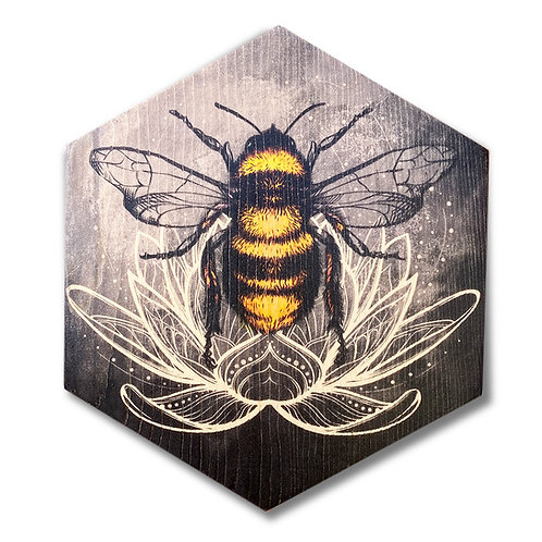 """Silvertone Lotus Bee"" Hexagon Wood Art"