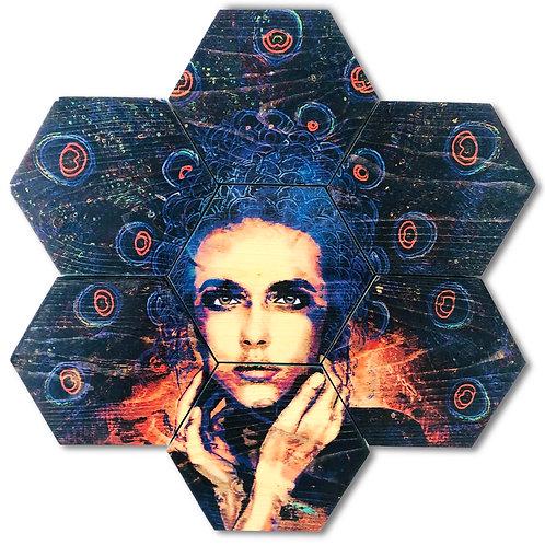 """""""Plume"""" 7-Panel Hexagon Wood Art"""