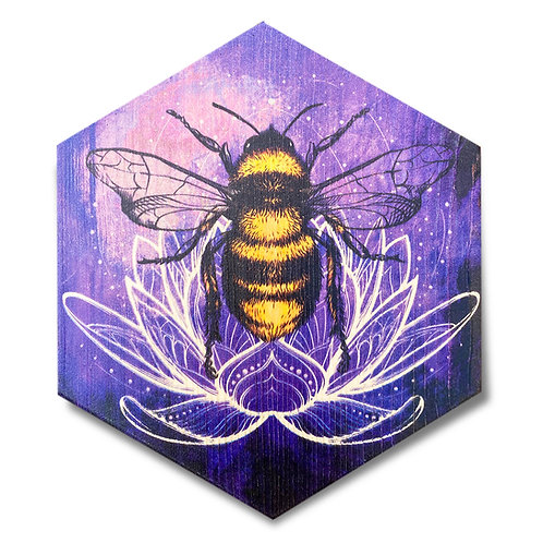 """Violet Lotus Bee"" Hexagon Wood Art"