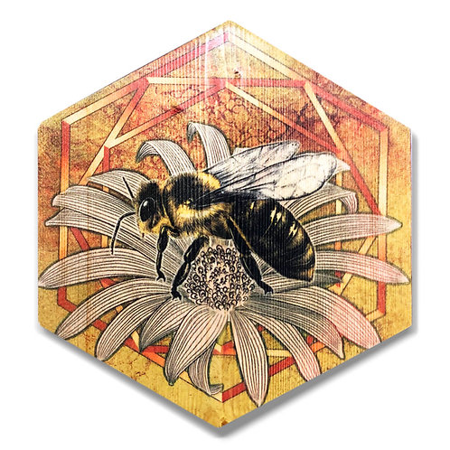 """UltraViolet Bee"" in Golden Yellow Hexagon Wood Art"