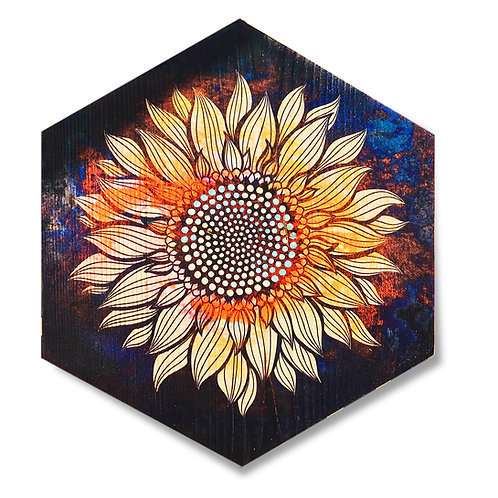 """Secret Sunflower"" Large Hexagon Wood Art"