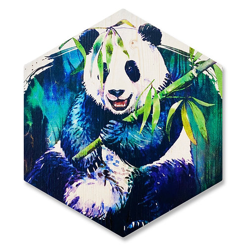 """Panda"" - Large Hexagon Wood Art"