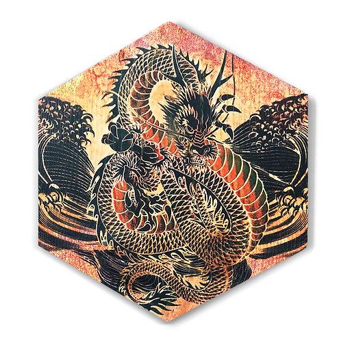 """Golden Dragon"" Large Hexagon Wood Art"