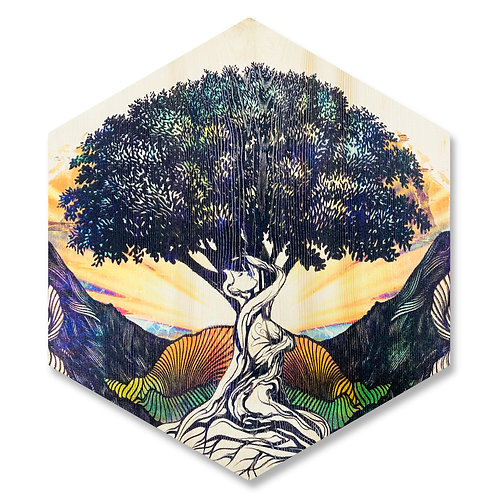 """""""Mother Earth"""" (Facing Right) - Large Hexagon Wood Art"""