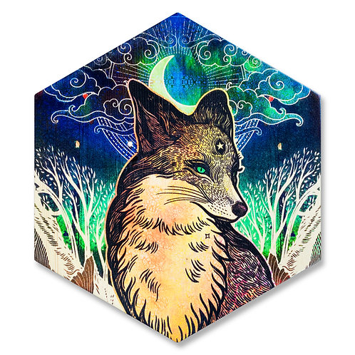 """Mystic Fox"" - Large Hexagon Wood Art"