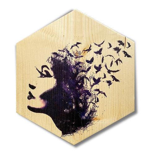 """Release"" Large Hexagon Wood Art"