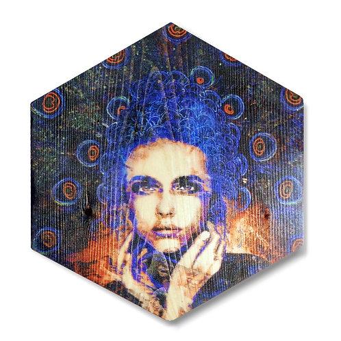 """""""Plume"""" Hexagon Wood Art"""