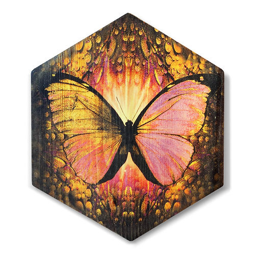 """Butterfly in Yellow"" Hexagon Wood Art"