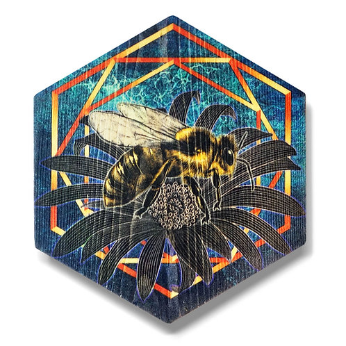 """UltraViolet Bee in Turquoise"" Hexagon Wood Art"