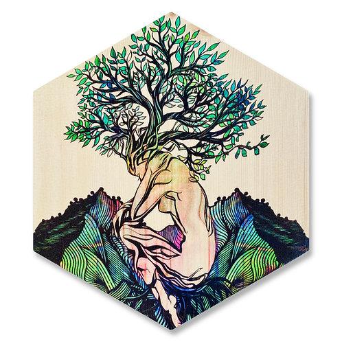 """Renew"" - Large Hexagon Wood Art"