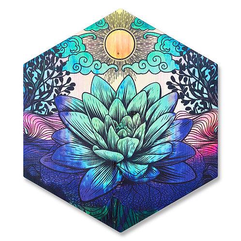 """""""Blooming Lotus"""" - Large Hexagon Wood Art"""