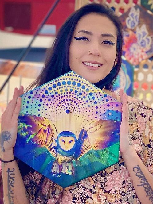"""Aura Owl"" - Large Hexagon Wood Art"
