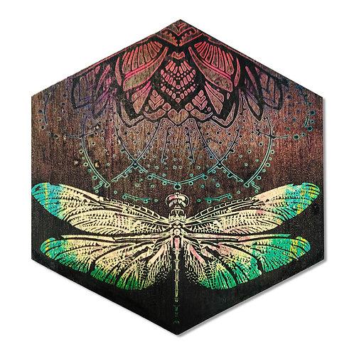 """Vibrant Dragonfly"" Large Hexagon Wood Art"
