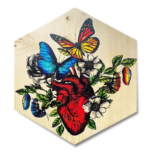 """Metamorphosis"" Large Hexagon Wood Art"