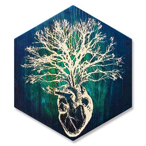 """HeART of Vitality"" in Emerald & Aqua - Large Hexagon Wood Art"